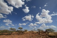 Clouds and dry landscape
