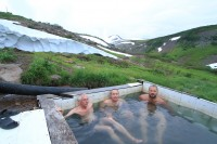 Hot spring | Warm bath under the volcano, my friend from left site - Milan, Tomas, Vasek