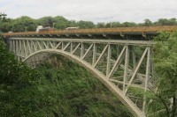 Victoria Falls Bridge | Lenght 198 m, height 128 m, Zambie on the left site, Zimbabwe on the right site